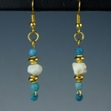 Earrings with Roman turquoise glass and stone beads