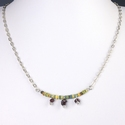 Necklace with Egyptian faience and garnet drop beads