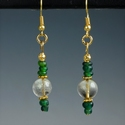 Earrings with Roman green glass and rock crystal beads
