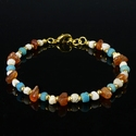 Bracelet with Roman turquoise glass, shell, carnelian beads