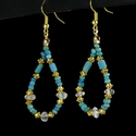 Earrings with Roman turquoise glass and rock crystal beads