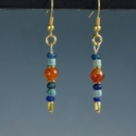Earrings with Egyptian faience, carnelian, glass beads