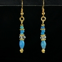 Earrings with Roman turquoise/blue glass and crystal beads