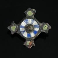Roman bronze enamelled plate brooch
