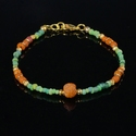 Bracelet with Roman green and orange glass beads