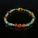 Bracelet with Roman turquoise glass and carnelian beads
