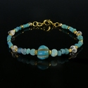Bracelet with Roman turquoise glass, melon and crystal beads