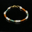 Bracelet with Roman turquoise, orange glass and shell beads