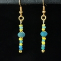 Earrings with Roman yellow and turquoise glass beads