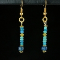Earrings with Roman turquoise and blue glass beads