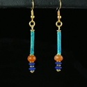 Earrings with Egyptian faience, carnelian and lapis lazuli