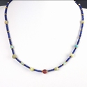 Necklace with Egyptian lapis, faience and carnelian beads