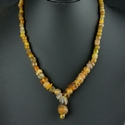 Necklace with Roman amber/cognac colour glass beads