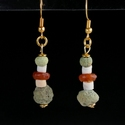 Earrings with Egyptian faience, stone and carnelian beads