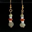 Earrings with Egyptian faience, stone and carnelian beads