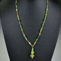 Necklace with Roman green and yellow glass beads