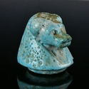 Ancient Egypt, glazed faience Canopic jar lid, Hapi