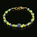 Bracelet with Roman blue, green and yellow glass beads