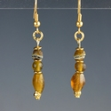 Earrings with Roman amber colour glass beads