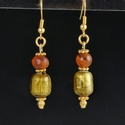 Earrings with Roman gold foil glass and carnelian beads
