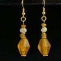 Earrings with Roman amber colour and semi-translucent beads