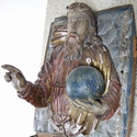 Large polychrome wood panel of Christ as Saviour
