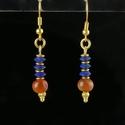 Earrings with Egyptian lapis lazuli and carnelian beads