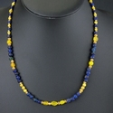 Necklace with Roman blue and yellow glass beads