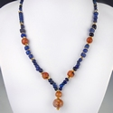 Necklace with Roman blue glass and carnelian beads