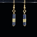 Earrings with Egyptian gold wrapped lapis lazuli beads