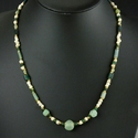 Necklace with Roman green glass, shell and stone beads