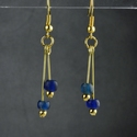 Earrings with Roman blue glass beads