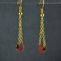 Earrings with Roman red glass beads