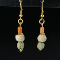 Earrings with Egyptian faience, shell and coral beads