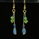 Earrings with Roman blue and green glass beads