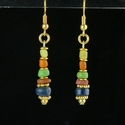 Earrings with Roman multicolour glass beads