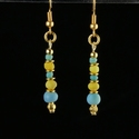 Earrings with Roman turquoise and yellow glass beads