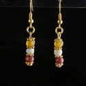 Earrings with Roman red, amber colour glass and shell beads