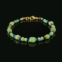 Bracelet with Roman green and blue glass beads