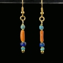 Earrings with Egyptian faience, coral and glass beads