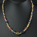 Necklace with Roman yellow, blue, red glass and shell beads