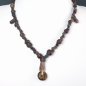 Necklace with Roman purple glass and amber beads