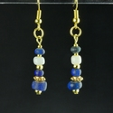 Earrings with Roman blue and white glass beads