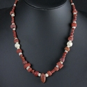 Necklace with Roman red glass, shell and jasper beads