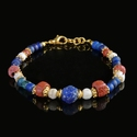 Bracelet with Roman blue, red glass and shell beads