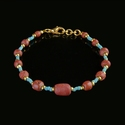 Bracelet with Roman turquoise and red glass beads