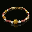 Bracelet with Roman red, amber colour glass and shell beads