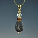 Pendant with Roman purple glass and rock crystal beads