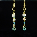Earrings with Roman turquoise glass and shell beads
