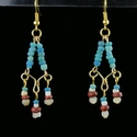 Earrings with Roman turquoise, red glass and shell beads